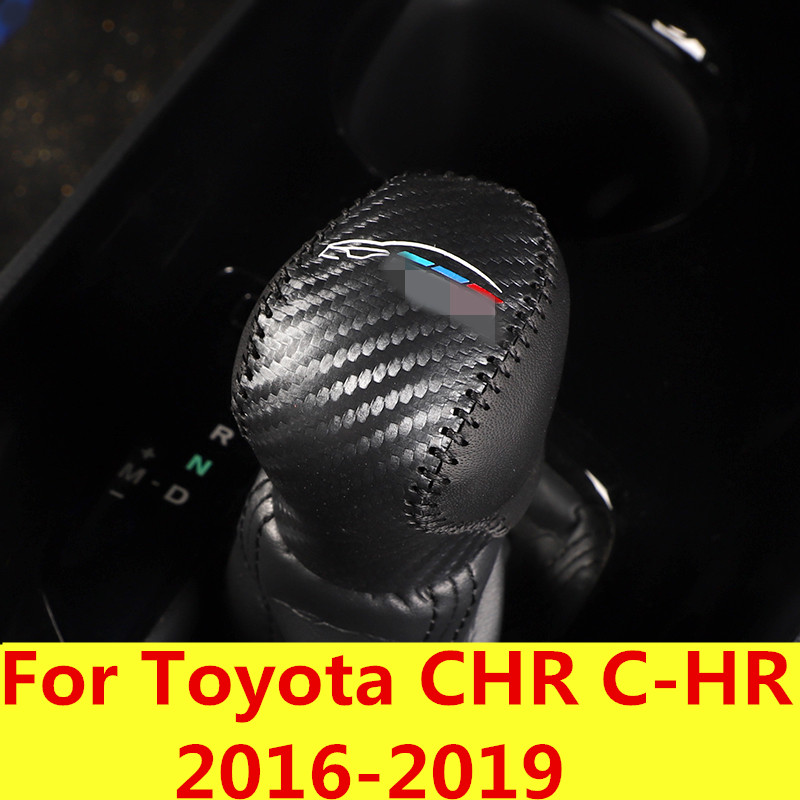 Interior Accessories For Toyota Chr C-hr 2016 2017 2018 At Gear Shift Lever Knob Cover Shell Trim Stiching Black Leather Blue Hand-switch Accessories Gear Shift Collars