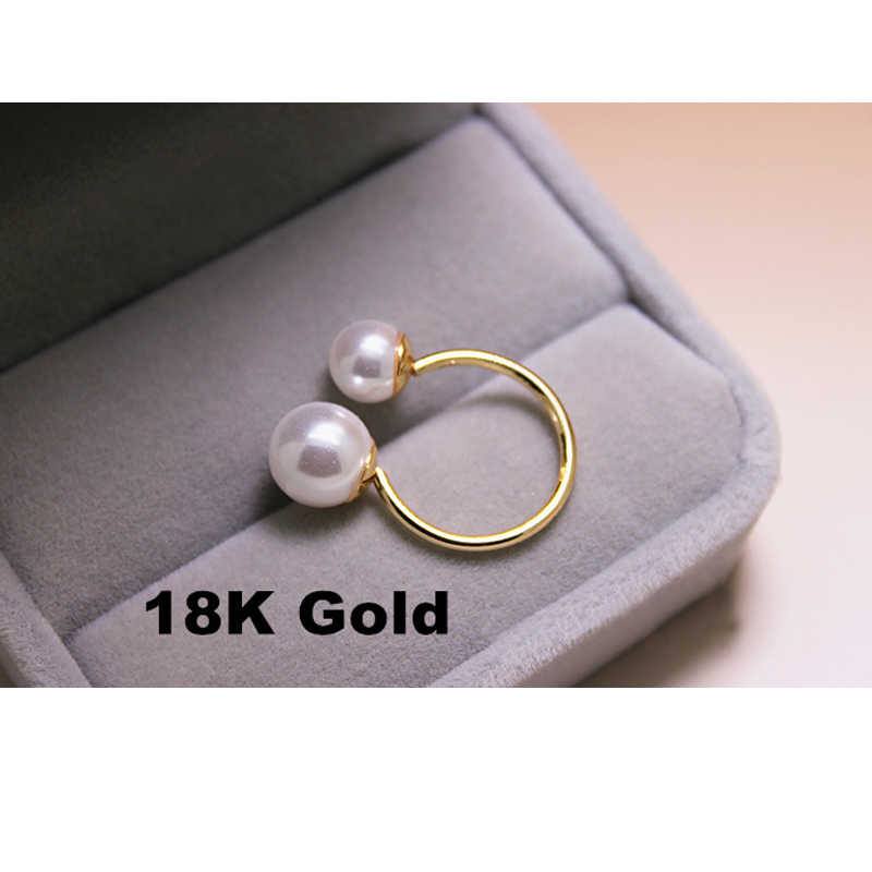 2018 Elegant Fashion Pearl Ring for women Wedding Bride rings Asymmetry Pearl Open women's Ring Girl Gift Jewelry Wholesale