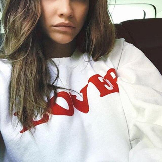 Amante rojo letra impresión sudadera mujeres Tops tumblr