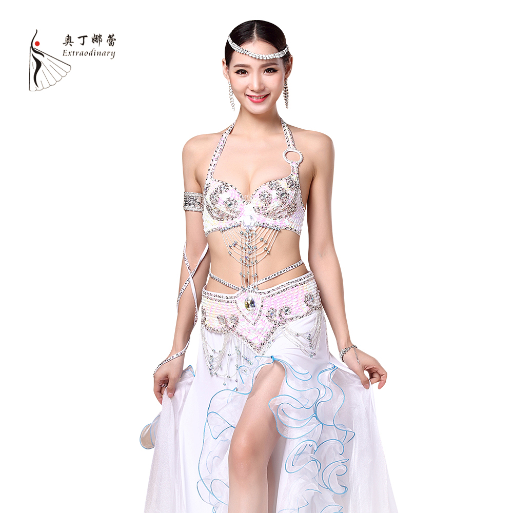 Women Stage Dance Wear 2016 Oriental Dance Sequined Beaded Bra And Belt Bellydance Suit 2pcs Costumes