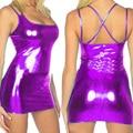 Женщины сексуальная блестящий металлический поддельные латекс кожа ремешками клубные горячая девушка мода ну вечеринку костюм с 6 цвета