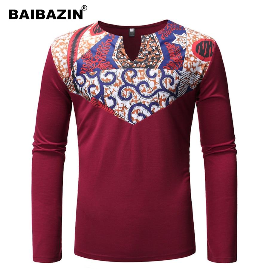 262af7bf243 Baibaizin nueva ropa africana para hombre estilo étnico costura hombre de  manga larga cuello en V camisa de fondo
