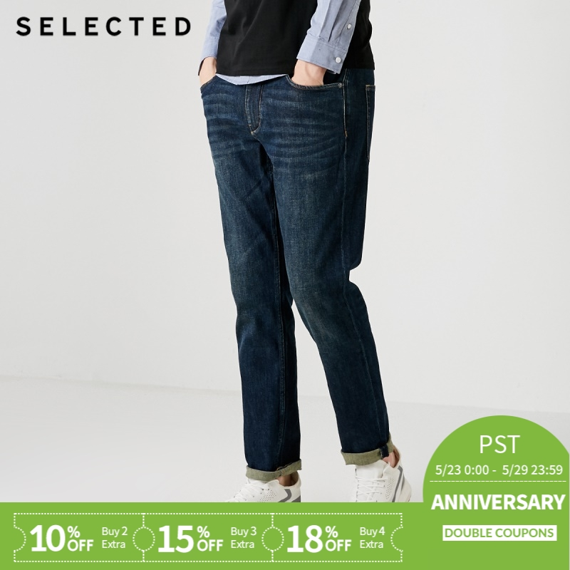 SELECTED Men's Autumn & Winter Lycra Slight Stretch Vintage Slim Fit   Jeans   S|418332532