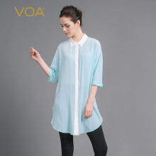 VOA 2017 Summer Light Green Silk Chiffon Shirt Thin Comfort Women Tops Plus Size Loose Brief Solid Casual Long Blouse B6939