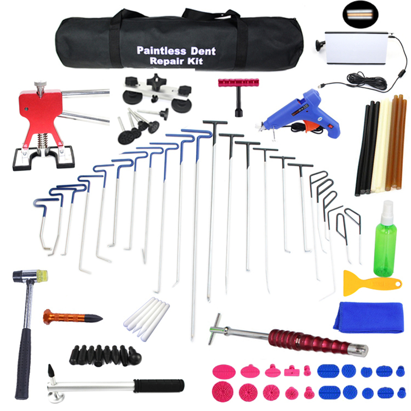 PDR Rods Dent Remover Tools Paintless Dent Repair Tools PDR Tools Kit Hail Damage Removal Car Ding Dent Repair Rod Hook PDR Line pdr rod tool kit set door ding repair hail damage repair with with 9 heads aluminum tap down dent hammer paintless dent removal