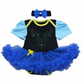 2017 Hot Baby girls Princess Anna Dress Lace Party Outift Clothing Newborn Cotton Baby Romper Infantil Bebe Roupa Kids Clothing