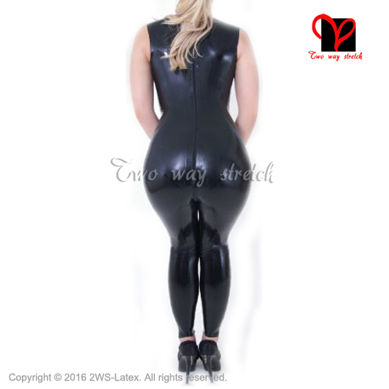 Sexy Latex Catsuit With high collar bow Rubber body suit bodysuit Jumpsuit overall sleeveless zentai tights zip At Back LT-113