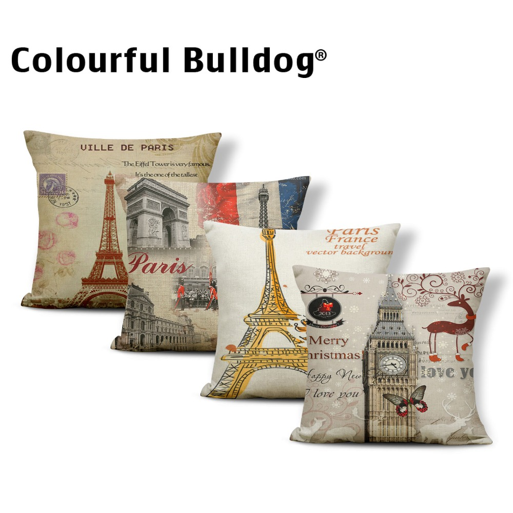 Building Christmas Deer Cushion Famous Pillowcase Retro Living Room Baby Birth Gifts Car Throw Pillow Animal 17X17 Cotton Blend
