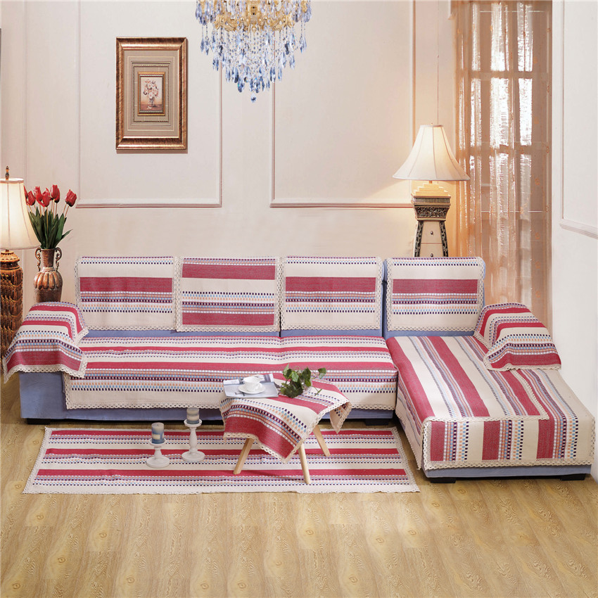 buy four seasons red strip color linen