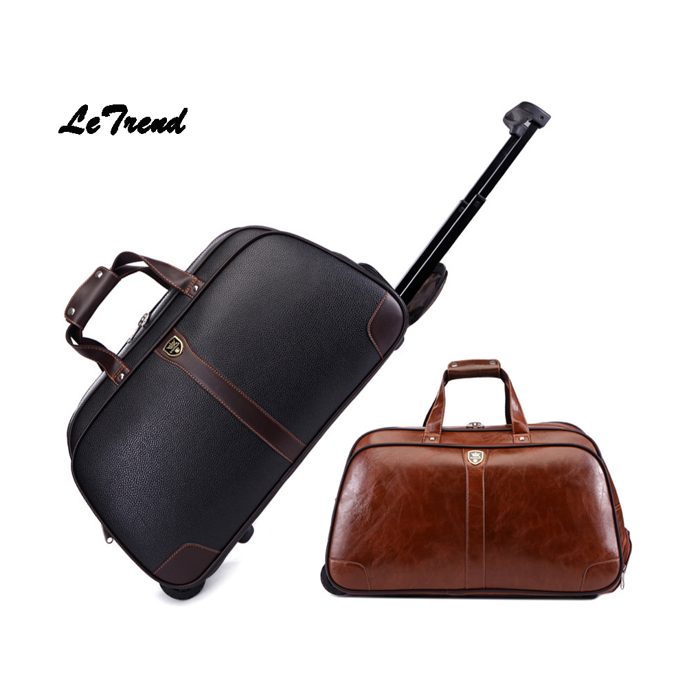 Letrend Business High-capacity Hand Travel Bag PU Leather Rolling Luggage Trolley Bag Carry On Trunk Short Journey