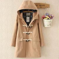 Horn button Autumn Winter Woolen Jacket Women Fashion Straight Long Wool coat loose Women Hooded Overcoat