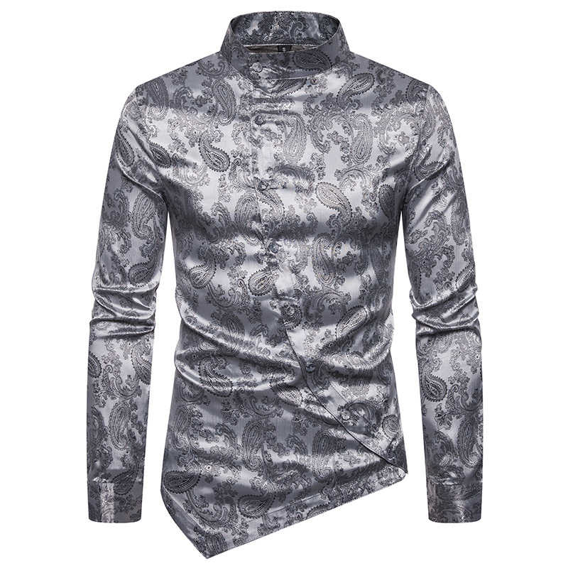 2019 New Men's Silk Satin Printed Shirt Male Floral Print Business Casual Shirt Men Long Sleeve Slim Fit Chinese Style Shirts