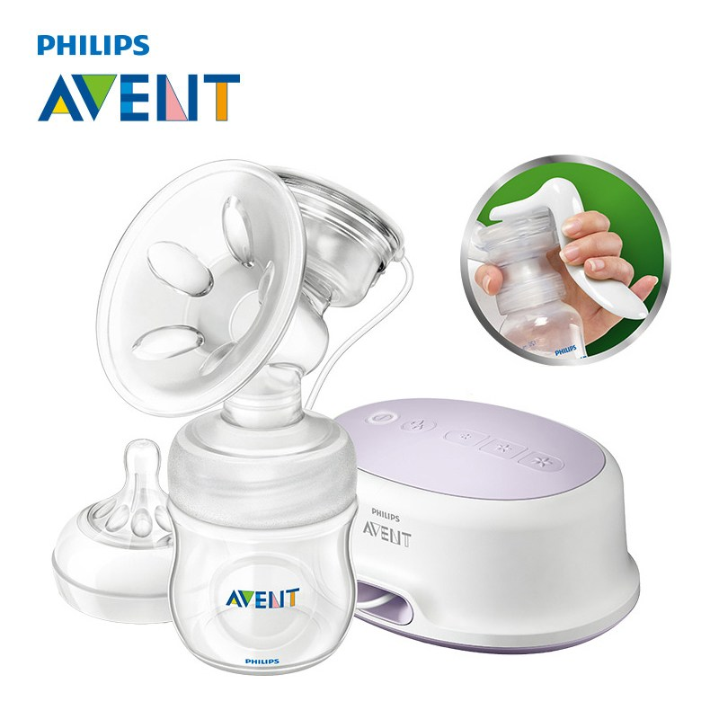 AVENT Natural Comfort Single Manual Electric Dual purpose Breast Pump Silicone/Polypropylene BPA Free+4oz bottle Breast Pumps