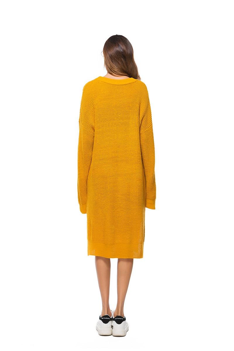 Fall Winter Vintage Mustard Side Slit Crochet Sweater Dress for Women Cute Ladies Retro Cosy Loose Split Pullover One Size 25