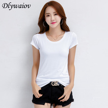 Cotton T Shirt Femme Solid Short Sleeve Harajuku Pure Simple Tee Women Casual T-shirt Slim Elasticity Female Tops Summer