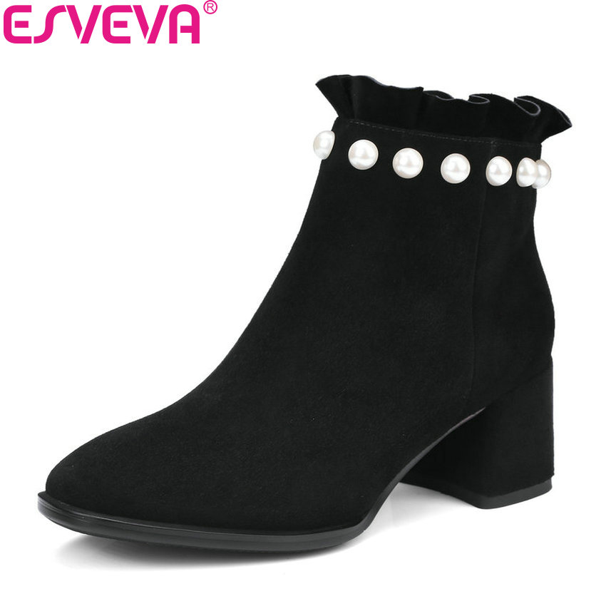 ESVEVA 2018 Women Boots Sweet Style Ankle Boots Spring Autumn Square High Heels Synthetic/PU Elegant Ladies Boots Size 34-42 esveva 2018 women boots zippers black short plush pu lining pointed toe square high heels ankle boots ladies shoes size 34 39