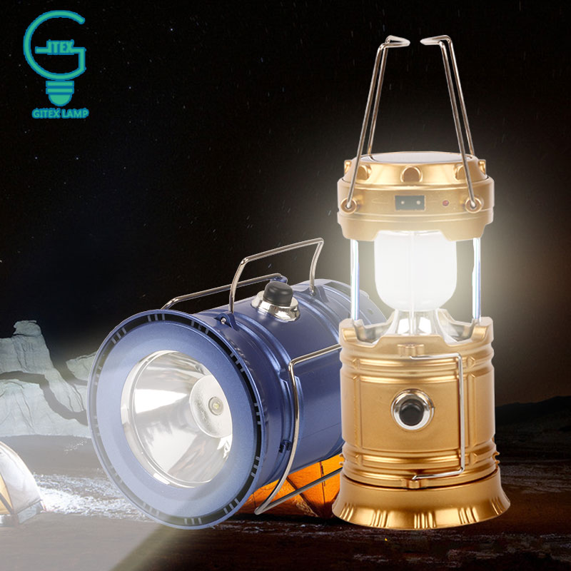 Rechargeable Solar Camping Lantern Portable Folding Flashlights Solar Powered Lamp For Outdoor Hiking Tent Camping Light