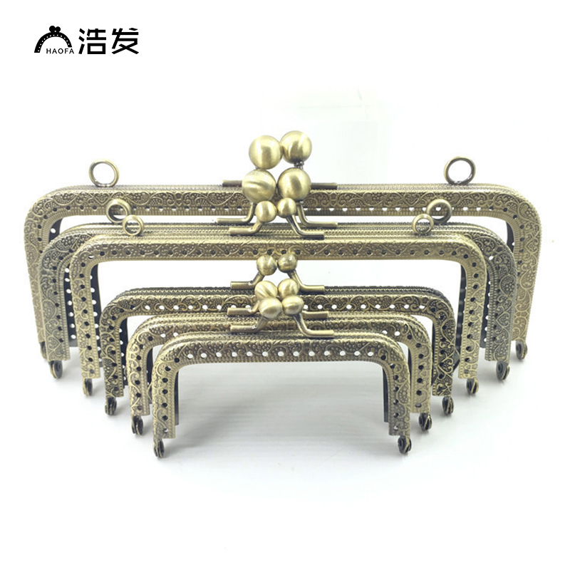 HaoFa DIY Metal Frame Purse Handle Coins Bags Metal Kiss Clasp Lock Frame Accessories For Bag 6.5/8.5/10.5/12.5/15/18/20.5cm