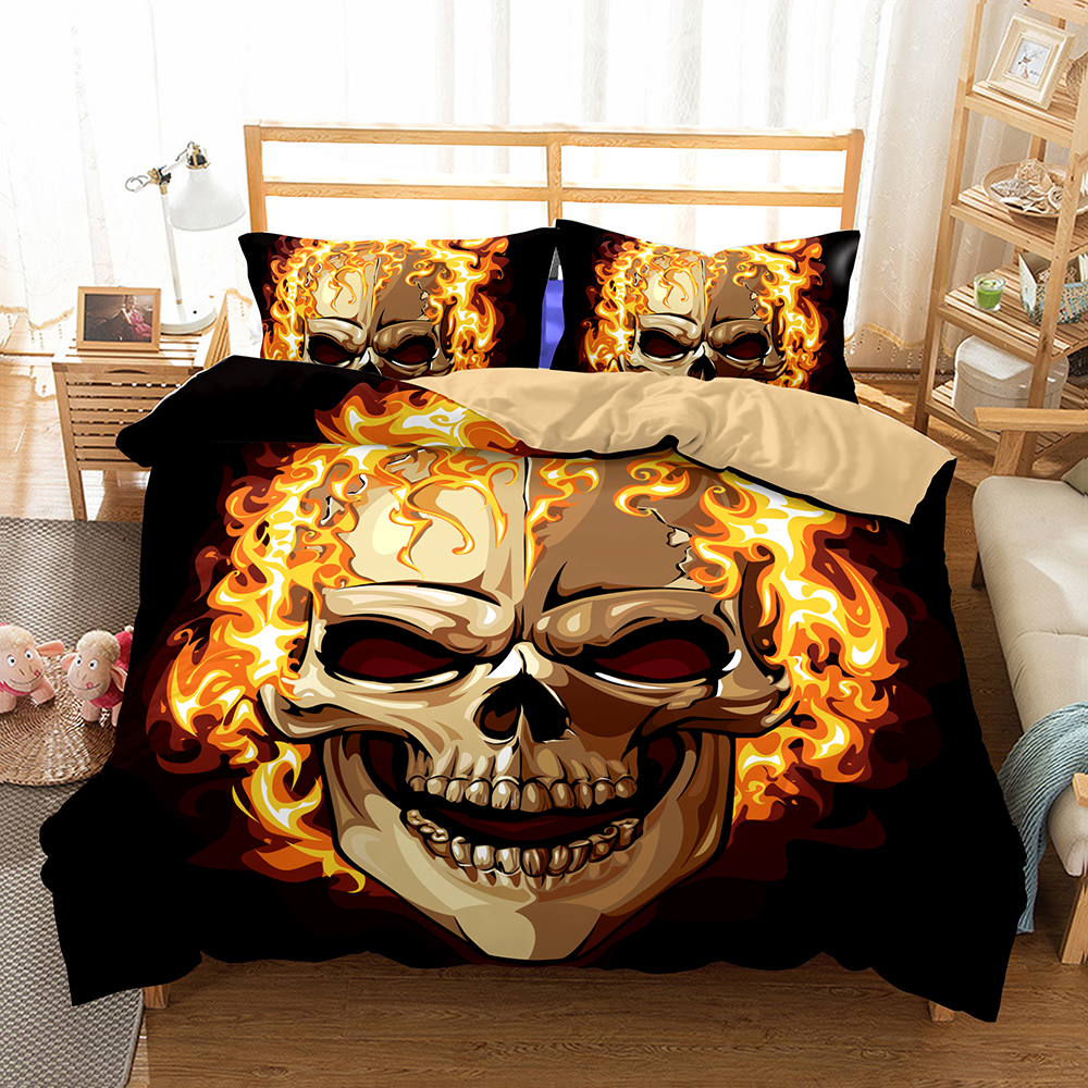Lai Yin Sun HOT Sale 3D Pattern Sugar Skull Flame Bedding Set Super King Queen Size Spring Bed Linen Bed Sheet Set 2/3PCS