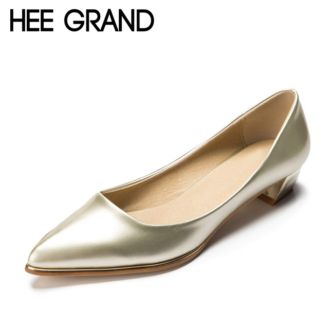 HEE GRAND Elegant Gold Silver High Heels 2016 Summer Pumps Pointed Toe Patend Leather Wedding Shoes Woman 5 Colors XWD2675