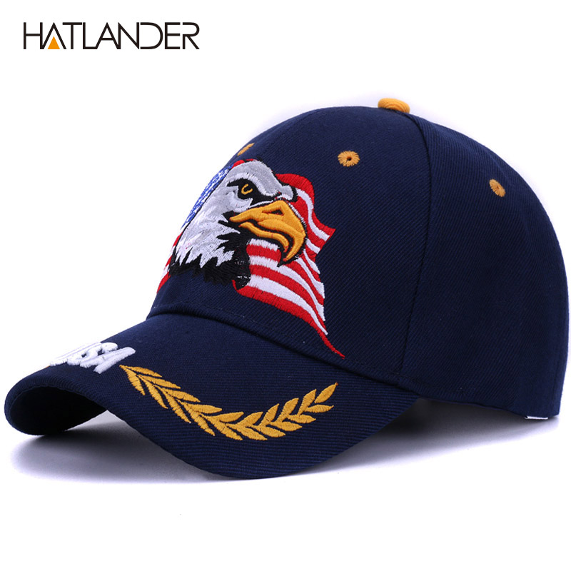 [HATLANDER]2018 Spring summer baseball caps for men outdoor sun hat women embroidery Eagle USA sports hats curved casquette cap
