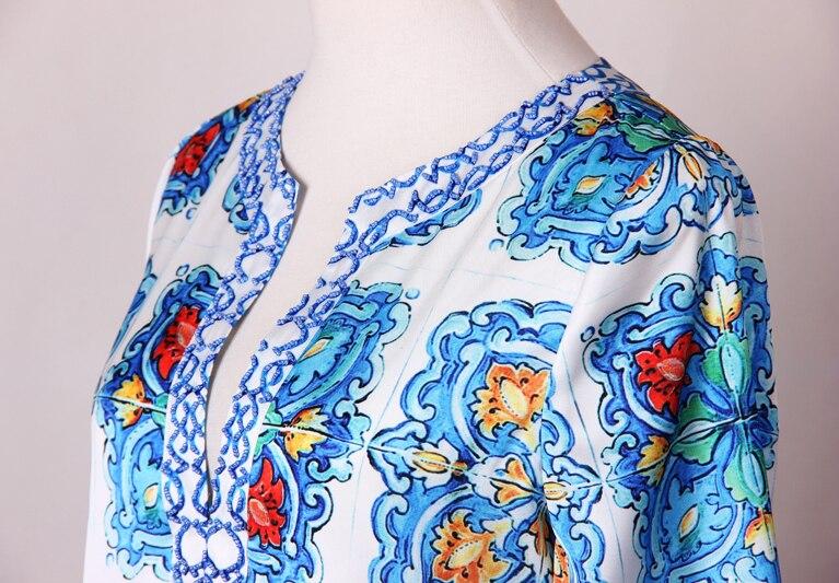 S 4XL haute qualité 2019 nouvelle mode piste bleu et blanc impression perlé à la main col en v à manches longues lâche ourlet fente robe femmes-in Robes from Mode Femme et Accessoires    3
