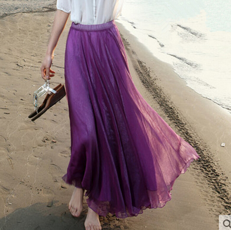 e3bb3990818c Long Skirt Elegant Style Women Pastel Volume Candy Coloured Pleated chiffon  Maxi Skirts in floor-in Skirts from Women's Clothing on Aliexpress.com |  Alibaba ...