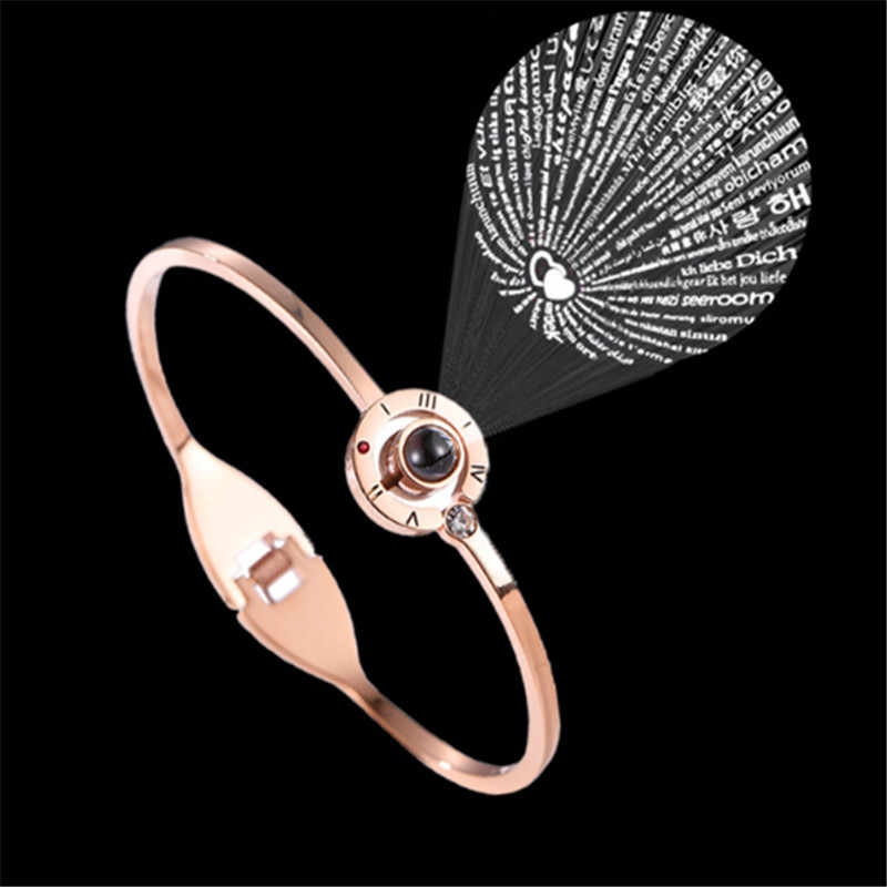 Fashion Women 100 Languages I Love You Memory Bracelet Steel Rose Gold Roman Numerals Crystal Charm Bracelets & Bangles Gifts