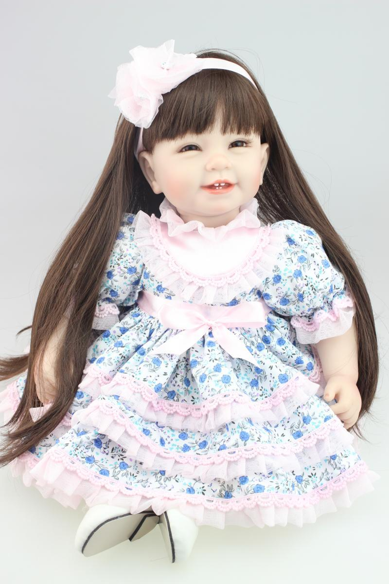 Silicone Vinyl reborn toddler doll toys for girl, 55cm lifelike princess doll play house toy birthday christmas gift brinquedods lifelike american 18 inches girl doll prices toy for children vinyl princess doll toys girl newest design