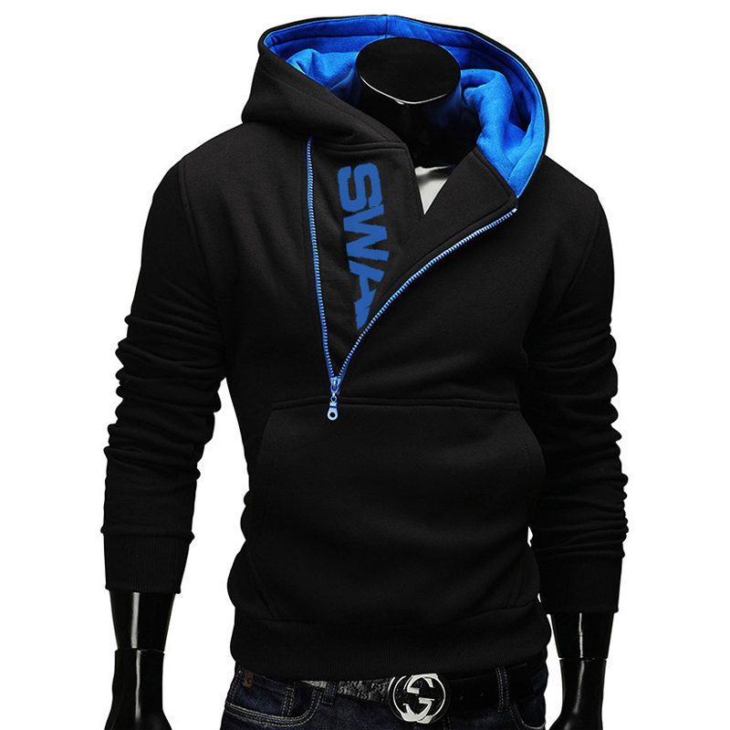 Side Zipper Hoodies Men Cotton Sweatshirt Spring Letter Print Sportswear Slim Pullover Tracksuit Hip Hop Street wear 2