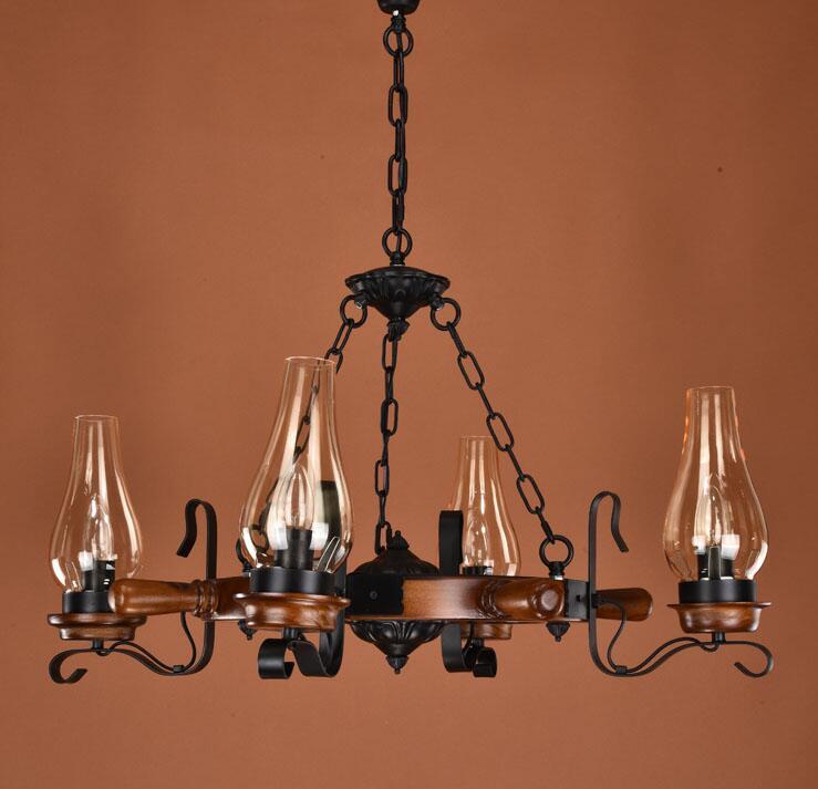 solid wood Rudder wrought iron pendant light living room lights restaurant lamp american bar dining lamp ZX58