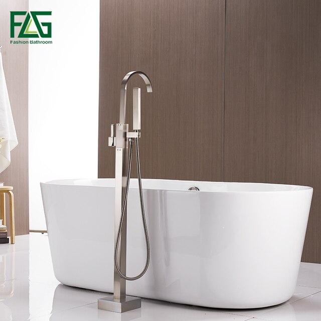 FLG Luxurious Floor Mounted Bath Shower Faucet Set  Black Antique Brass Tub Tap  with Hand shower Mixer Bathtub Faucets HS119 77