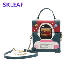 Robot box bag 2016 fashion cartoon women messenger bags new winter chain shoulder bag