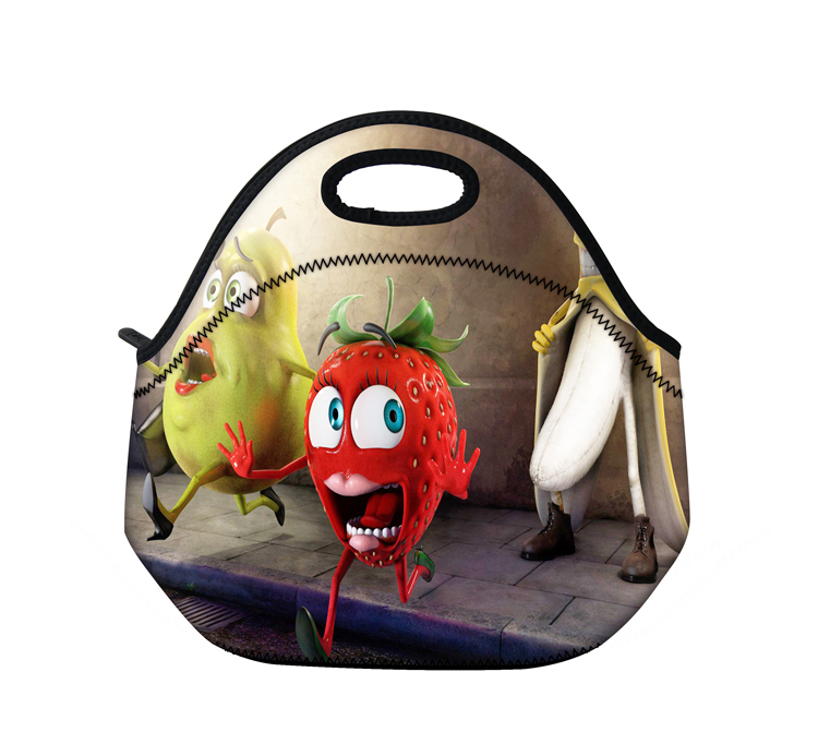 New Funny fruits neoprene thermal portable lunch bag women kids baby casual bags box tote waterproof food container