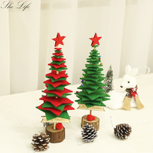 Mini Christmas Tree Ornament DIY Felt Package Handmade Non-woven Desktop Xmas New Year Decoration