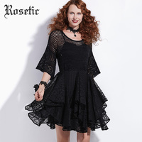 Rosetic Gothic Vintage Dress Women Spring Black Lace Hollow Elegant Sexy Club Fashion Ball Gown Prom Retro Victorian Goth Dress