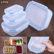 4pcs/set Rectangular Food Container Plastic Sealed Boxes Lunch Boxs Airtight Transparent Storage Box set