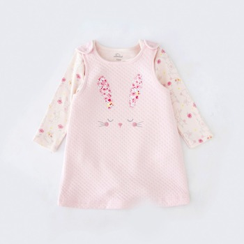 Tender Babies Baby Girl Clothing, Quilted jacquard pinny dress with rabbit embroidery to front and soft rabbit printed bodysuit tender babies baby girl clothing 3pcs set quilted jacquard hooded gilet and legging with rib cuff and soft printed floral t shir