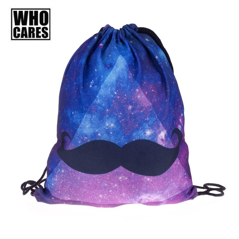 Femmes Sac À Dos Coloré Galaxy Moustache Impression Sac À Dos Cartable Qui Se Soucie Cordon Sacs Sac D'école pour les Adolescentes