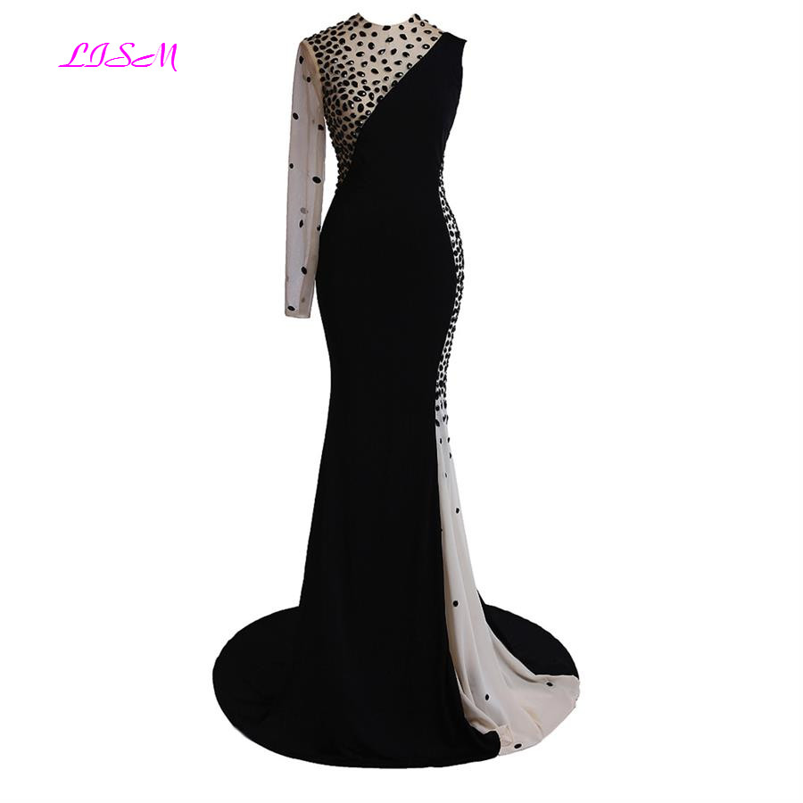 One Shoulder Mermaid Long Evening Dresses O Neck Beaded Sweep Train Formal Gowns Real Photos Black Evening Gowns for Women 2019