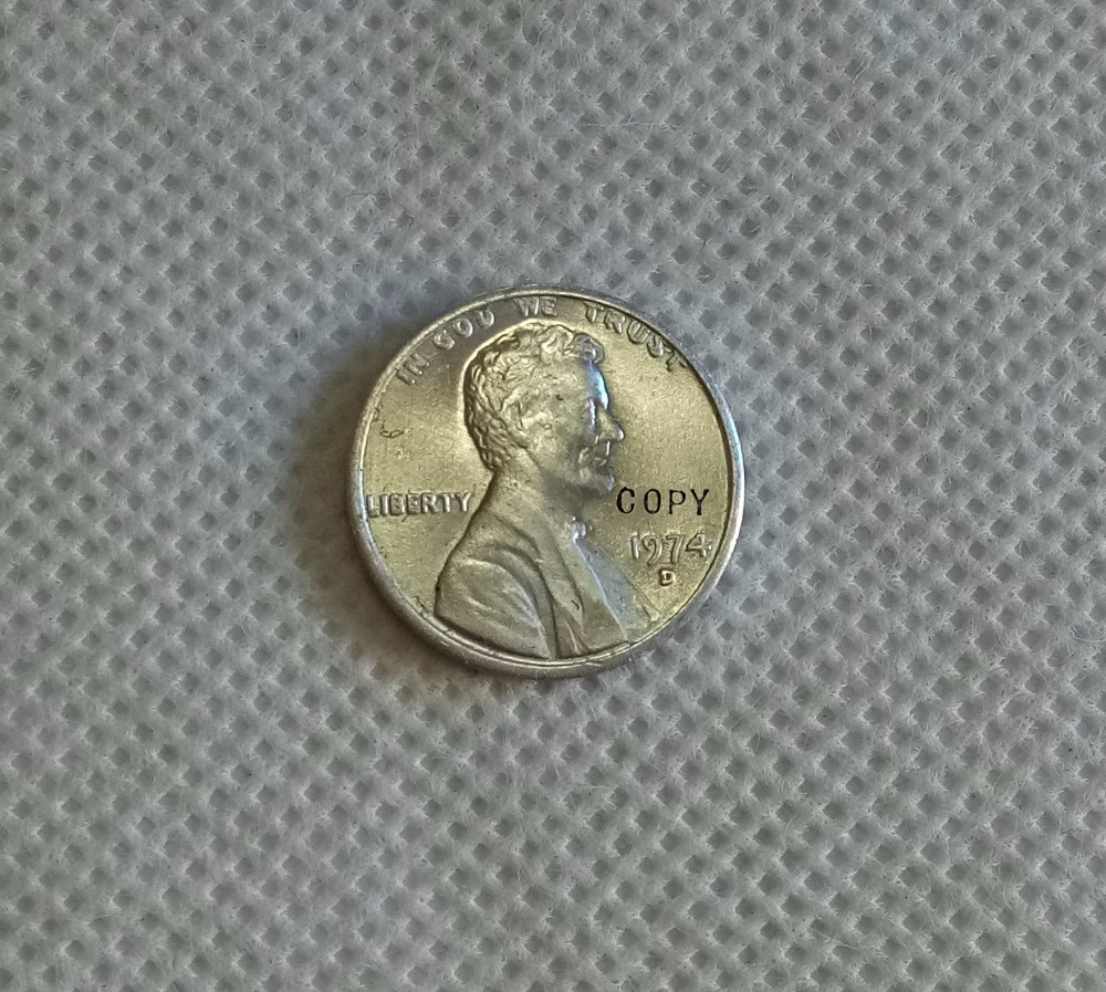 USA 1974-S,D Aluminum Lincoln Wheat Cent Penny COPY -replica coins medal  coins collectibles badge
