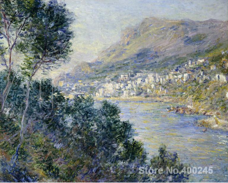 Christmas Gift art on Canvas A View of Cape Martin Monte Carlo by Claude Monet Painting High Quality Handmade