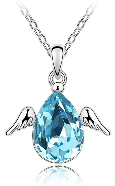 water drop Austrian crystal Little wing Angel 5 color necklace top quality Fashion Jewelry accessories tiger totem Free Shipping