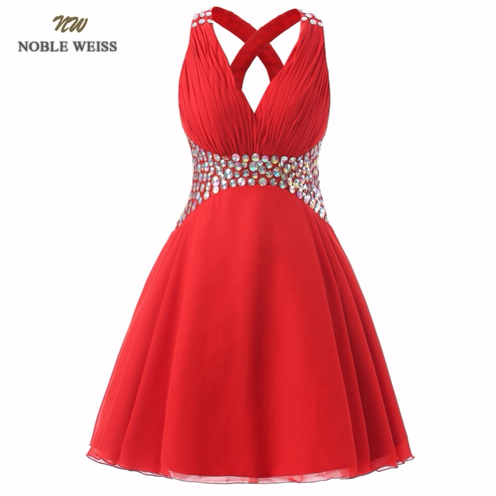 NOBLE WEISS Red   Prom     Dress   V-Neck Beading Pleat Chiffon Sexy Junior School   Prom   Gown Custom Made Special Occasion   Dresses