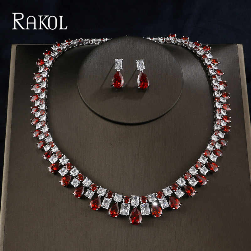 RAKOL Luxury Sparking Brilliant Cubic Zircon Drop Earring Necklace Heavy Dinner Jewelry Set Wedding Bridal Dress Accessories