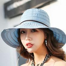 Verano moda Floppy sombreros de paja Casual vacaciones viaje ala ancha  sombreros para el sol sombreros plegables de la playa par. ce9a23f6b6e1