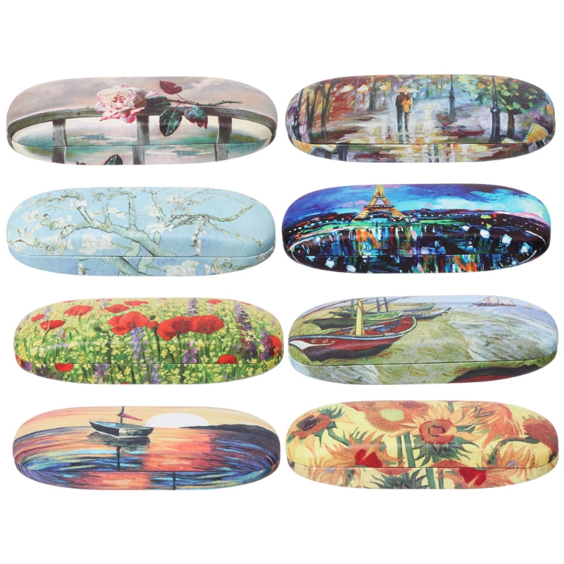 Color Blocks Abstract Fishes Aquatic Plants Glasses Case Eyeglasses Clam Shell Holder Storage Box