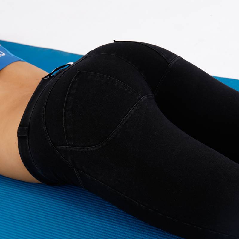 e8bfe76bc88c1 AK's hand denim low waist long heart ass push up fitness leggings butt  shape pants push up women silicon sexy butt lift legging