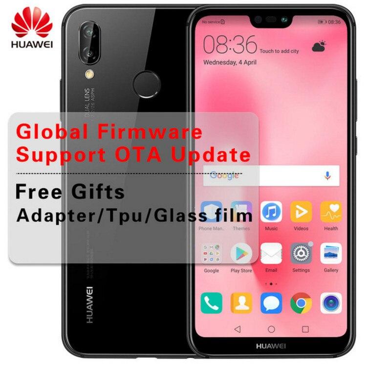 """Оригинальный huawei P20 Lite глобальной прошивки Nova 3e 4G LTE Мобильного Телефона Face ID 5,84 """"Экран Android 8,0 Стекло тела 24MP Фронтальная камера"""