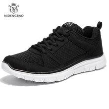 Needbo летняя мужская повседневная обувь Легкий дышащий материал сетки обувь Мужская обувь черный прогулочная обувь большой размер 40-48 Бесплатная доставка
